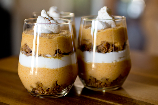 Pumpkin Pie Parfaits with Chantilly Whipped Cream and Honey-Graham Crumble