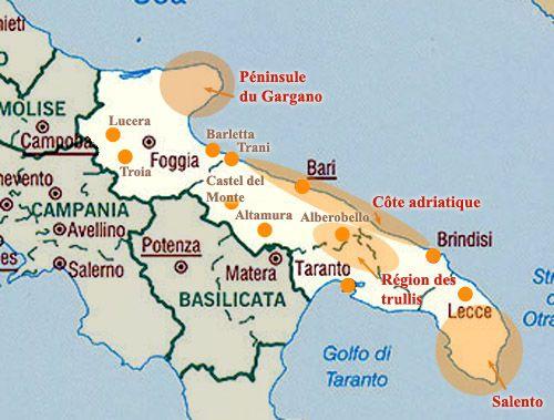 carte des pouilles italie carte générale des Pouilles | Pouilles italie, Pouilles et Voyage