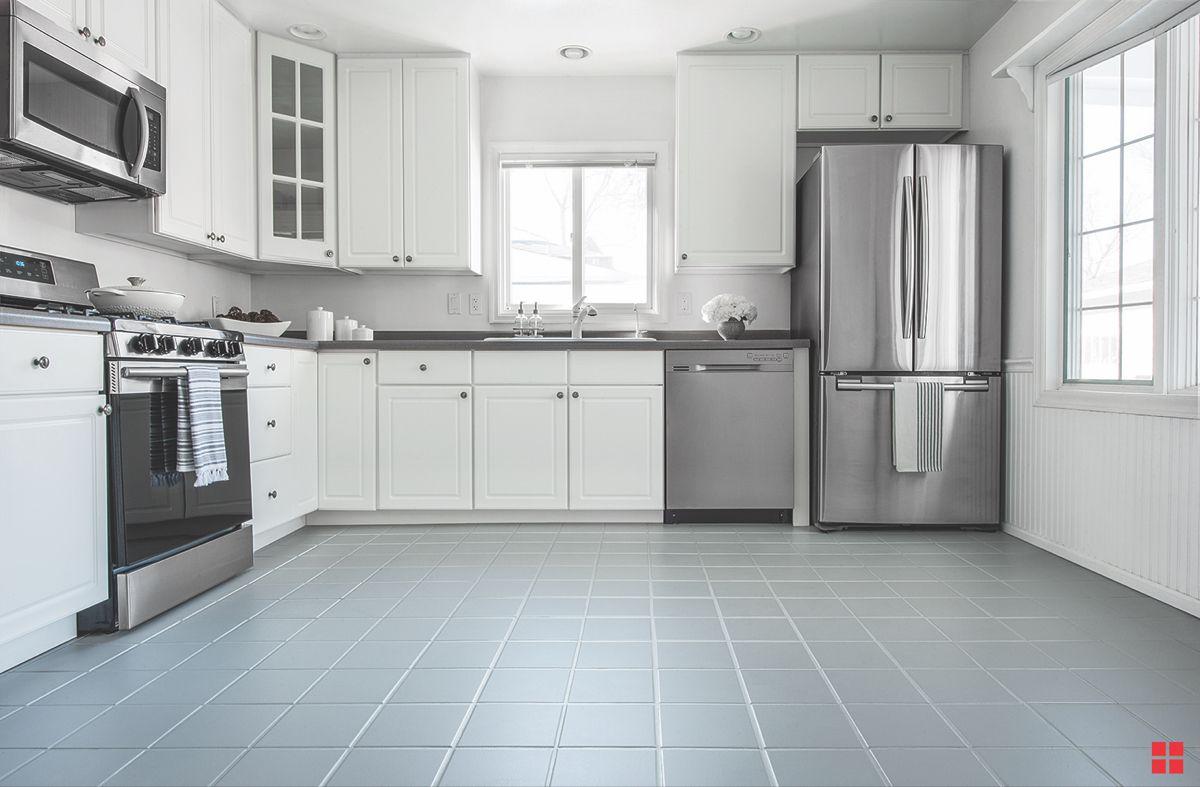 Diy Painted Kitchen Floor In 2020 Grey Painted Kitchen Painted Kitchen Floors Rustoleum