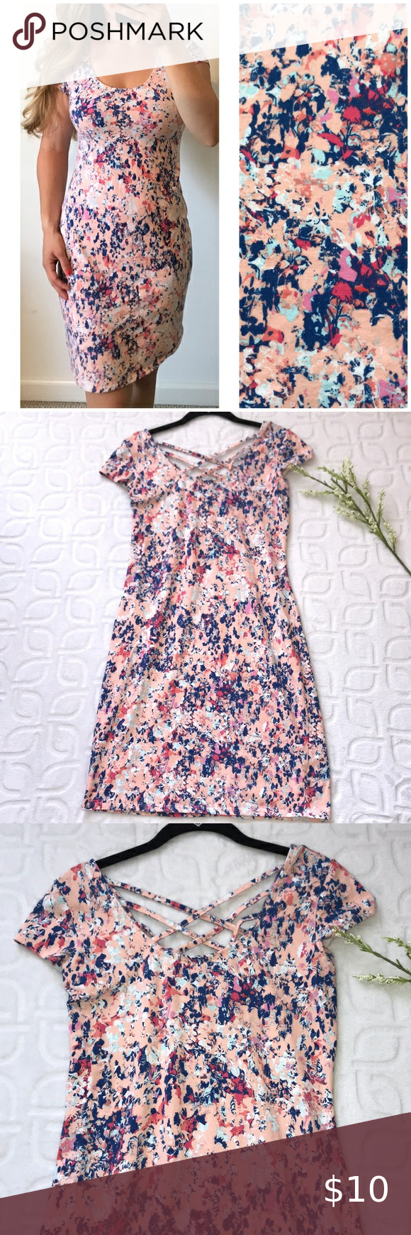 Floral Print Stretchy Strappy Summer Dress Large In 2020 Strappy Summer Dresses Summer Dresses Stretchy Dress [ 1740 x 580 Pixel ]