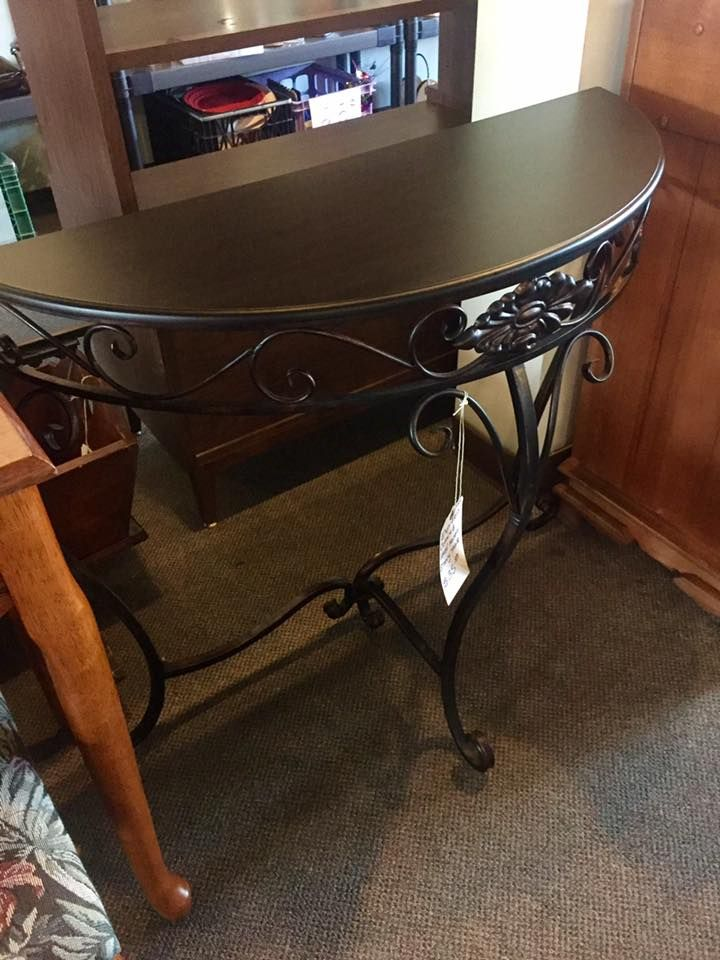 Espresso Colored Half Moon Metal Entry Table. Only $35!