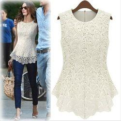 Cotton Lace European Americano Sexy Sleeveless blouse. Highly impressive style. <3