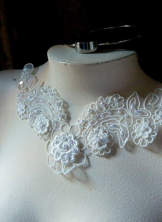 SALE Beaded Lace Applique in Cream Organza for Bridal, Headbands, Costume Design IA 771