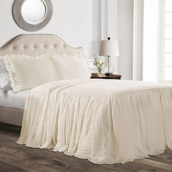 Lush Decor Ruffle Skirt Bedspread Set (King - White)