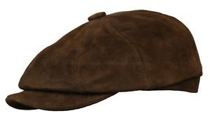 54.99 STETSON SUEDE LEATHER GATSBY NEWSBOY CAP DRIVING GOLF IVY HAT CABBIE  FLAT BROWN 8d795fe501b0