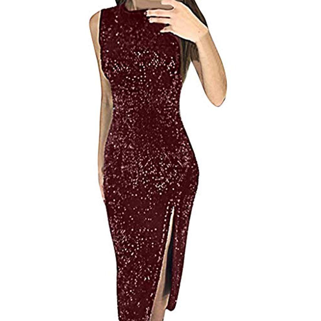 6e9f1bafbda19e Dasongff Damen Kleider ElegantPaillettenkleid Silber Abendkleider  LangÄrmelloses Unregelmäßige Maxikleider Cocktailkleid Partykleid Sexy  Bodycon Kleid # ...