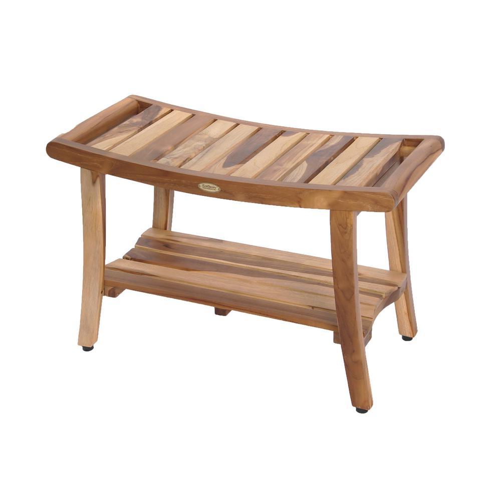 Ecodecors Earthyteak Harmony 30 In Teak Shower Bench With Shelf