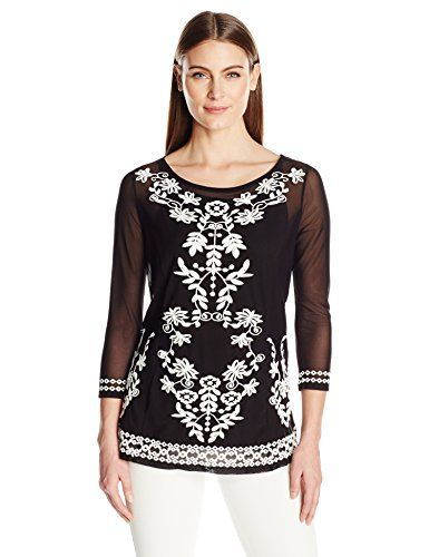 3686099ce6c Rafaella Womens Embroidered Mesh Top Black M *** BEST VALUE BUY on Amazon