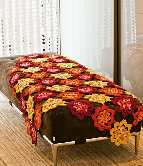 Receita manta de sof floral linha camila sof floral - Manta de sofa ...
