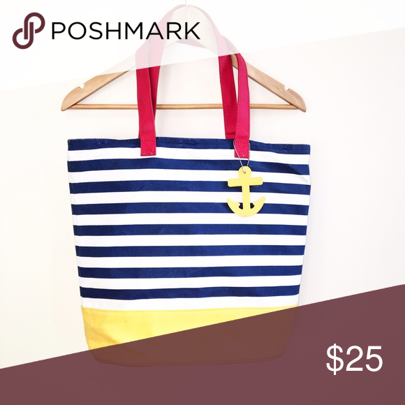 "Beach season is coming! 14x22"". Bucket bag. Red, white, blue & yellow. Beach season is coming! 14x22"".  With a cute little anchor attached. No pockets inside. It'll go great with that new 👙 bikini. Bags Totes"