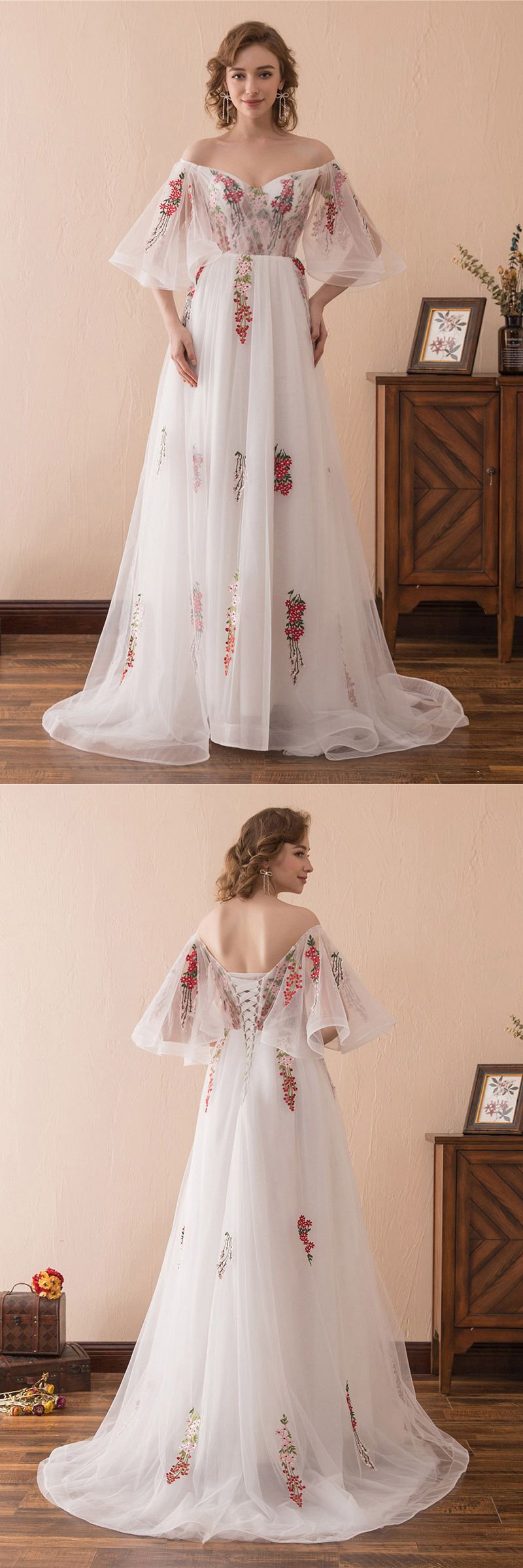 Fairy Tale Off The Shoulder Puffy Prom Dress With Color Embroidery ...