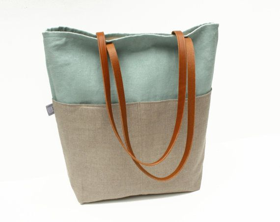 Large Linen Tote Bag: Large Tote, lined with Canvas with Four ...