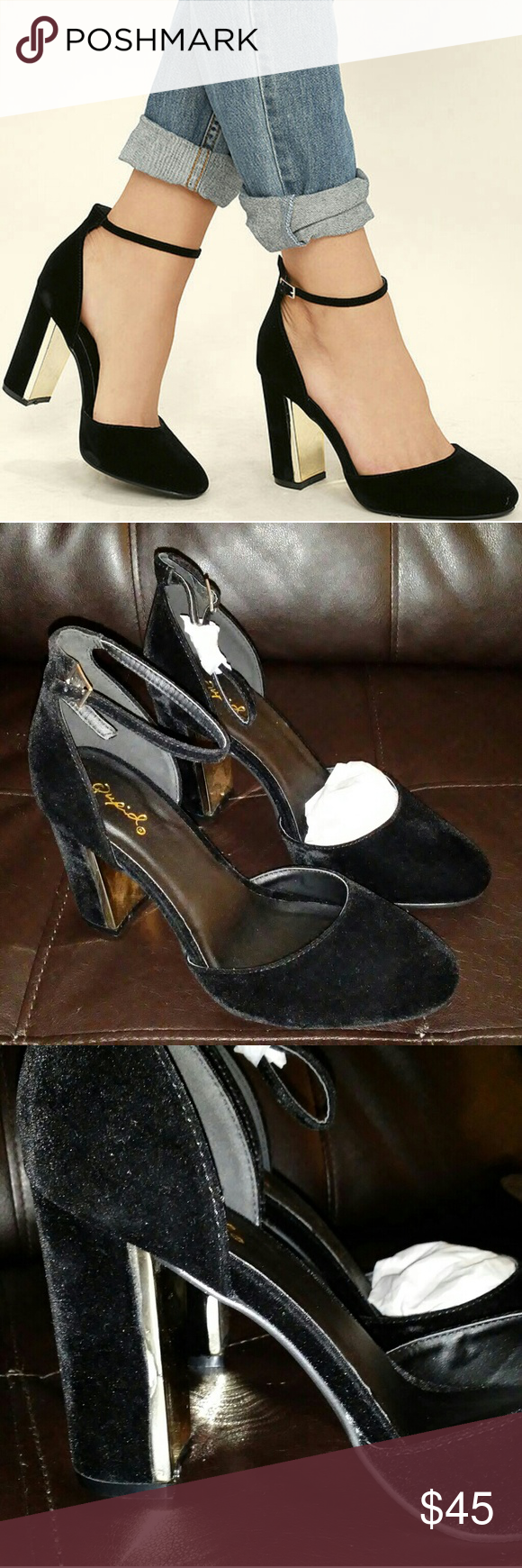 LAURA BLACK VELVET ANKLE STRAP HEELS Black velvet. Super soft and cute.  New in box..from Lulu's. Won't be in stock on lulus until August. Buy now!  :) Qupid Shoes Heels