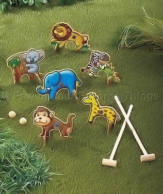 Croquet Safari Jungle Zoo Animal Outdoor Game Set Birthday Party Backyard Picnic