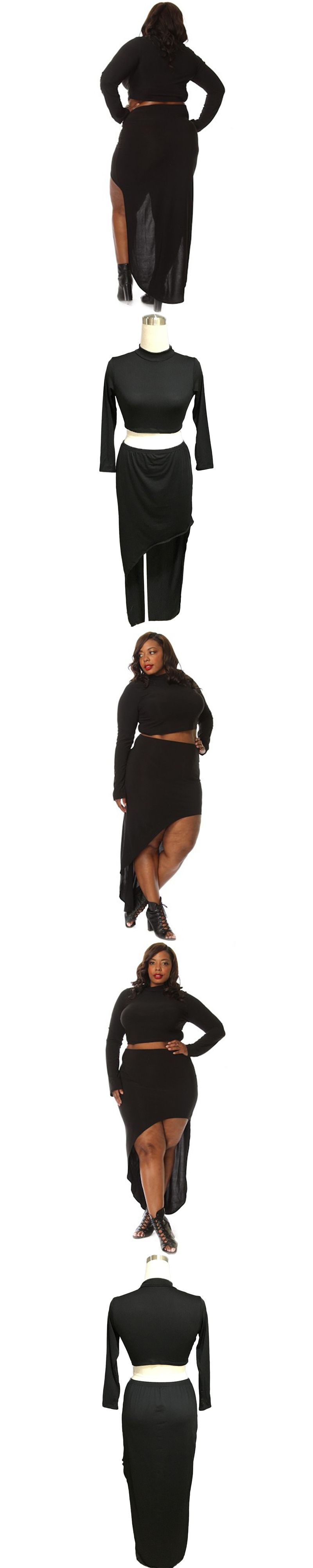 92be2127e3a 2018 summer new sexy club party two piece plus size women sets solid black  turtleneck elastic waist full sleeve lady set 2138