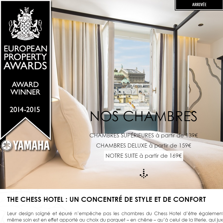 The Chess Hotel received a Hospitality Award for Best Website in London' thanks to the WebCom agency! | Le site internet du Chess Hotel récompensé aux Hospitality Awards à Londres' grâce au travail de l'agence WebCom ! #thechesshotel #hospitalityawards