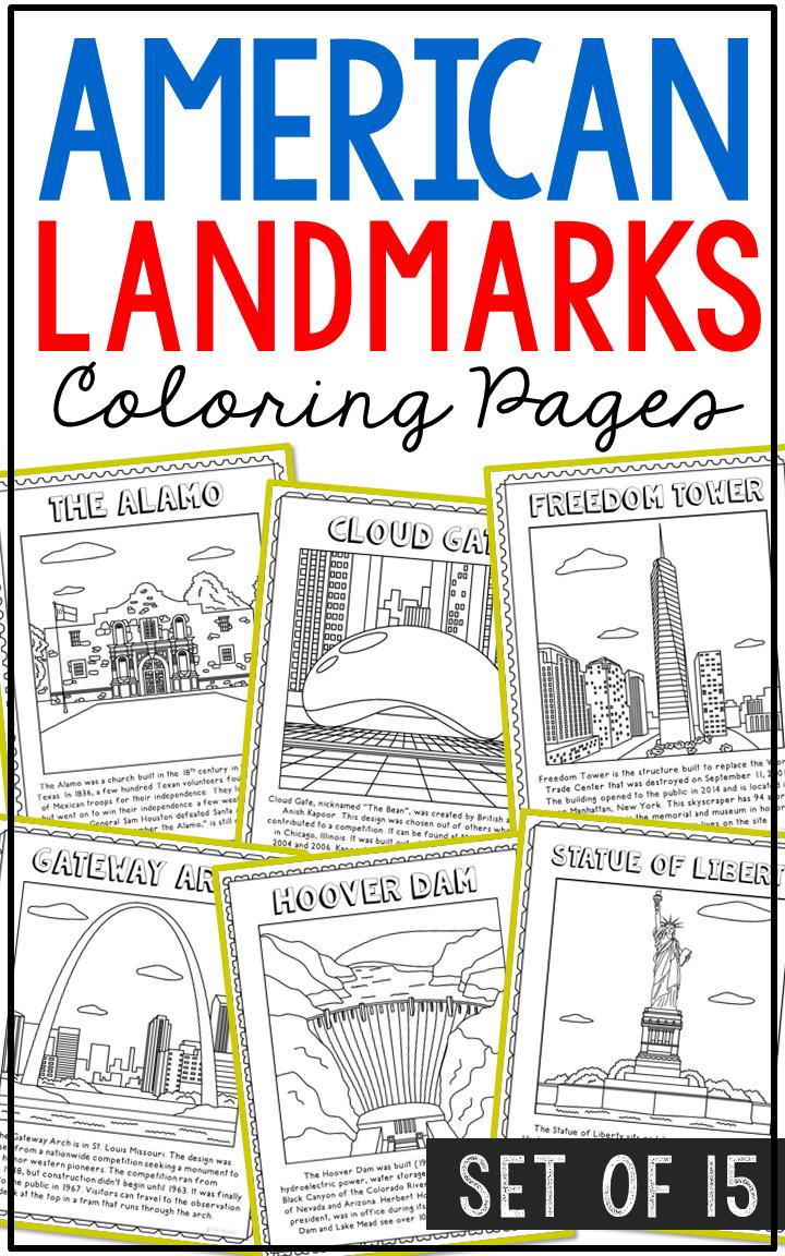 15 usa landmarks coloring page crafts