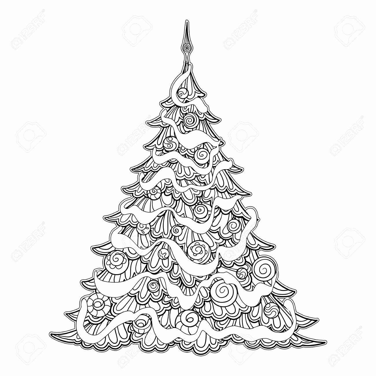 Dinosaur Christmas Tree Coloring Page Background