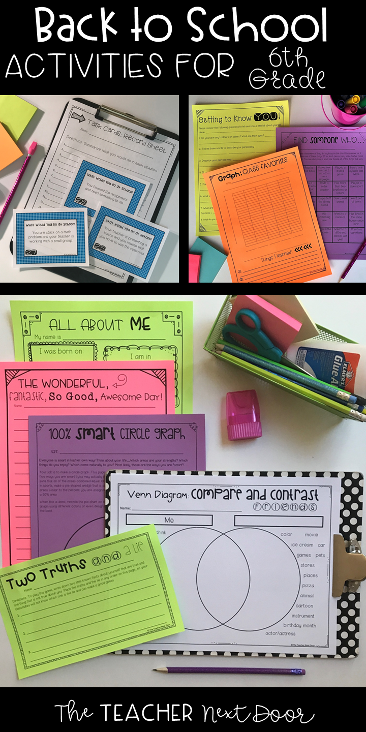 The Back to School Activities for 6th Grade is a 38 page set of worksheets [ 1440 x 720 Pixel ]