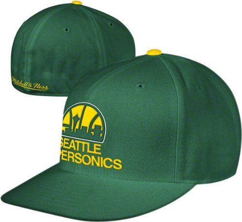 Seattle Sonics Green M&N Hardwood Classics Basic Logo Fitted Hat by Mitchell & Ness. $27.99. 100% wool. Contrast color button and undervisor. Raised front embroidery. Mitchell & Ness back embroidery. Officially licensed by the NBA. From out on the court to out on the town, be sure to support the Sonics with this Seattle Sonics Hardwood Classics Basic Logo Fitted Hat. Featuring a prominently displayed Seattle Sonics embroidered logo that is an absolute must-have in any Sonics fa...