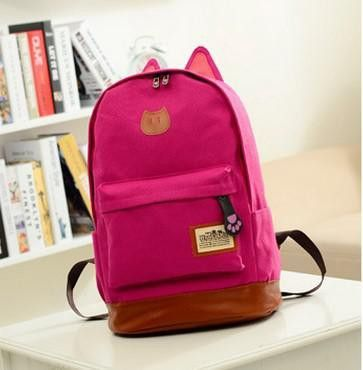 4302d42f1761 Coofit Canvas Backpack For Women Girls Satchel School Bags Cute Rucksack  School Backpack children Cat Ear Cartoon Women Bags