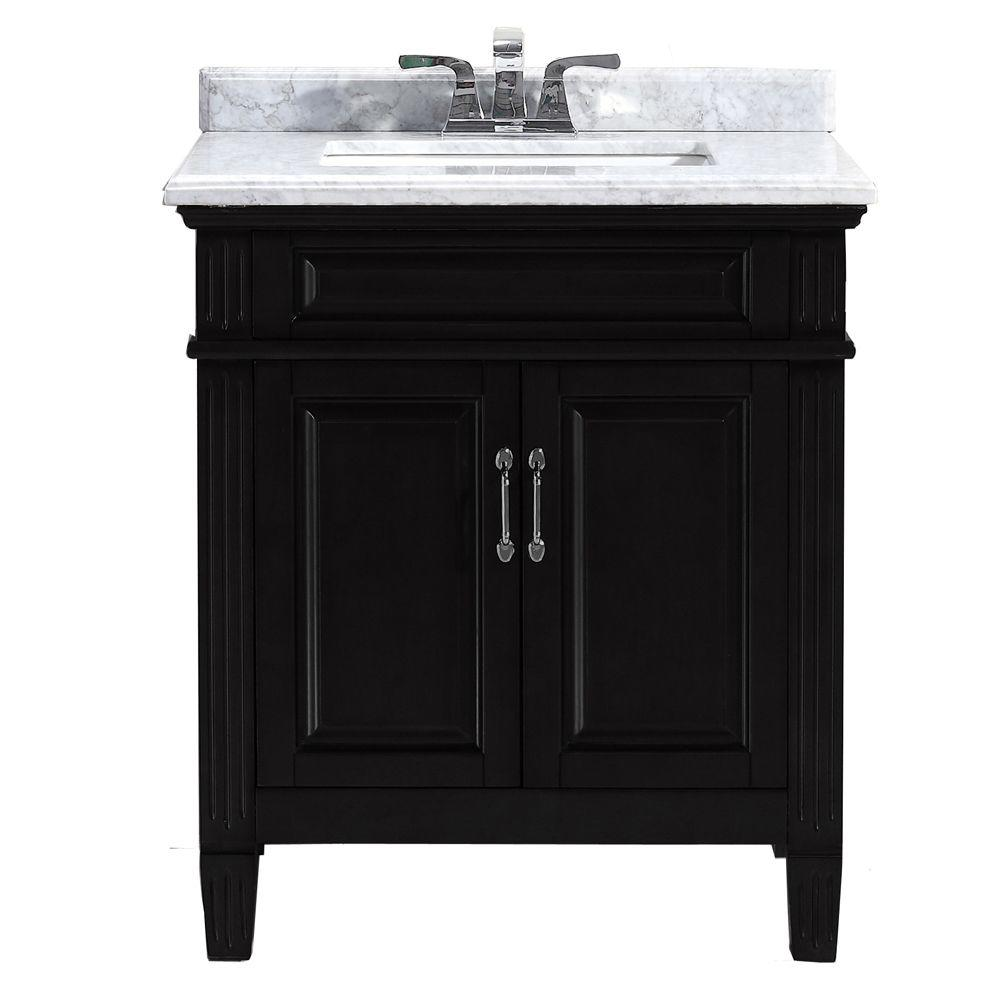 Blaine 30 In Vanity Black With Marble Top Carrara White Bfblaine30 The Home Depot