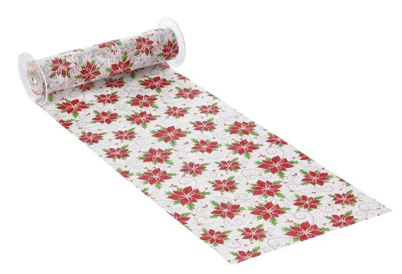 Deko-Stoff 28 cm x 1 m Weihnachtsstern weiß/silber von Craft Shop A - Z auf DaWanda.com