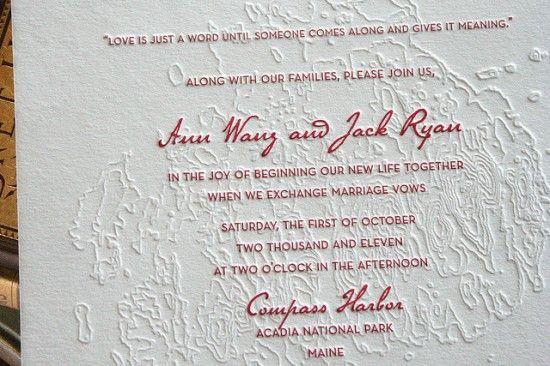 Topographic map wedding invitations letterpresses weddings and topographic map wedding invitations stopboris Gallery