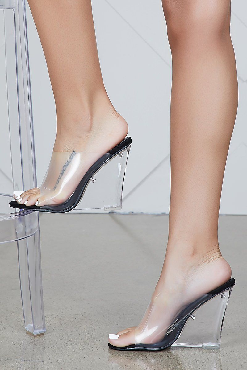 7f1d2acadbd9 Transparent Wedge Heels (Black) in 2019