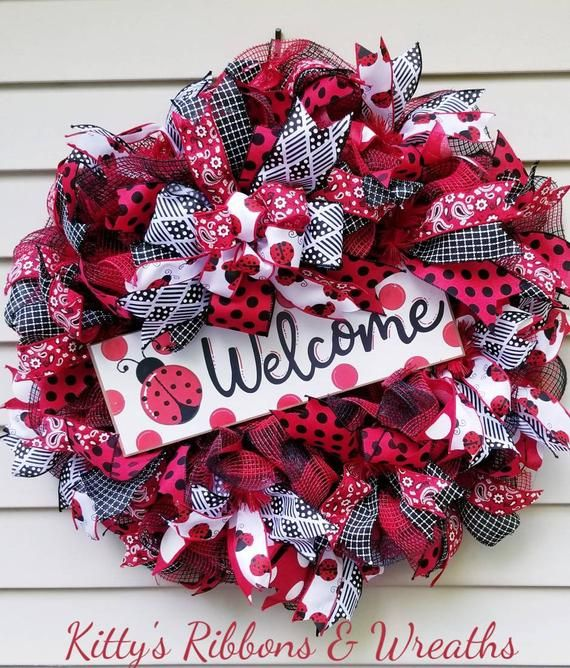 Photo of Lady bug Wreath, Welcome Wreath, Summer Wreath, Ribbon Wreath, Black, White and Red, Home Decor, Door Wreath,
