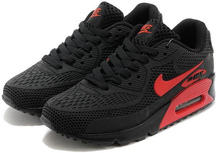 Nike Air Max 90 Essential Black and red Men Women Nike air  Nike air