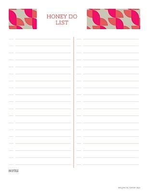 FREE Printable honey do list Printables  Lists Pinterest Free - bill organizer chart