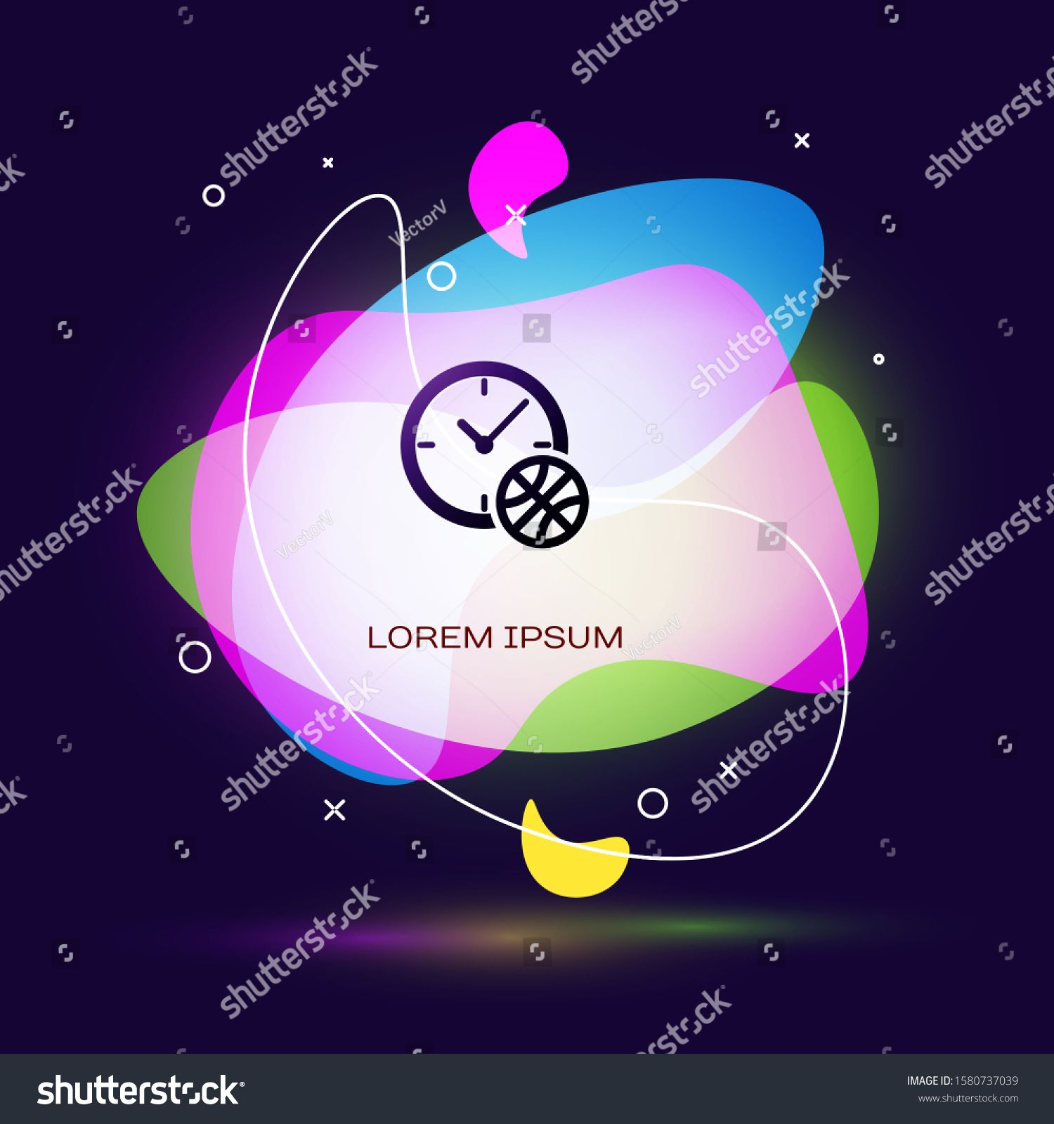 Black Clock with basketball ball inside icon isolated on
