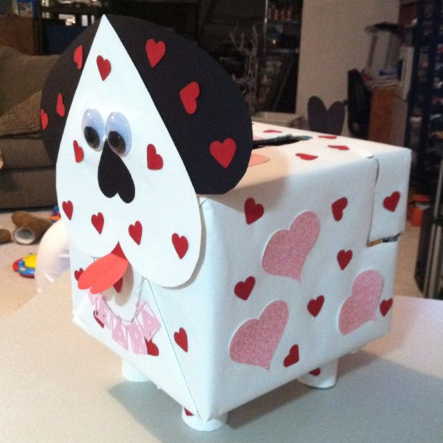 Ideas For Decorating Valentine Box: Daughters Valentine Box! Cute Dog... :) Done.