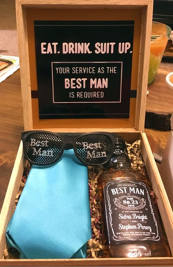 Will You Be My Best Man Gift Idea Personalized Labels On Drink Sungles And Tie Courtesy Of Etsy