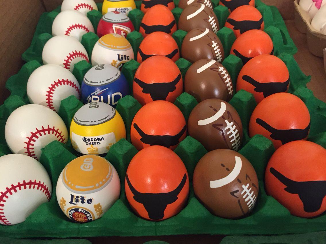 Longhornsbaseballsfootballs u beer cans hand painted easter eggs