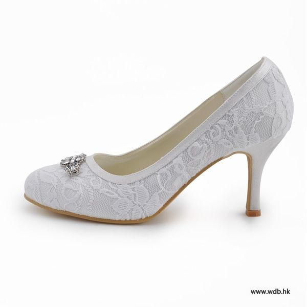 """Gorgeous 2.5"""" Crystal Brooch & Almond Toe Pumps - White Formal Occasion shoes (4 colors)"""