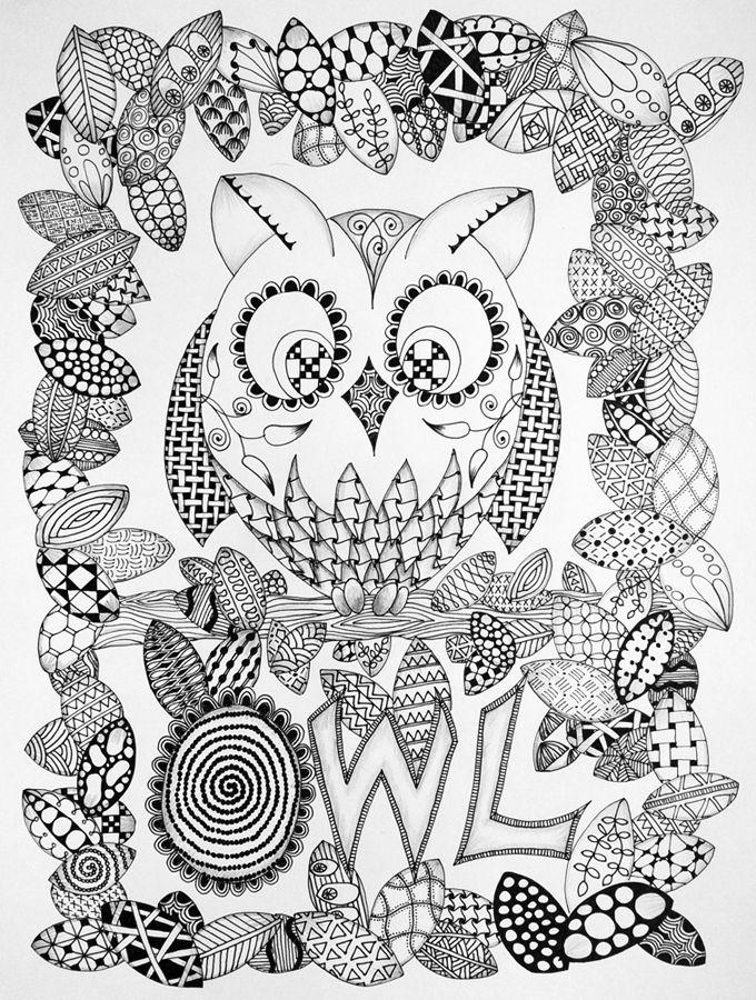 Owl And Butterflies In Zentangle