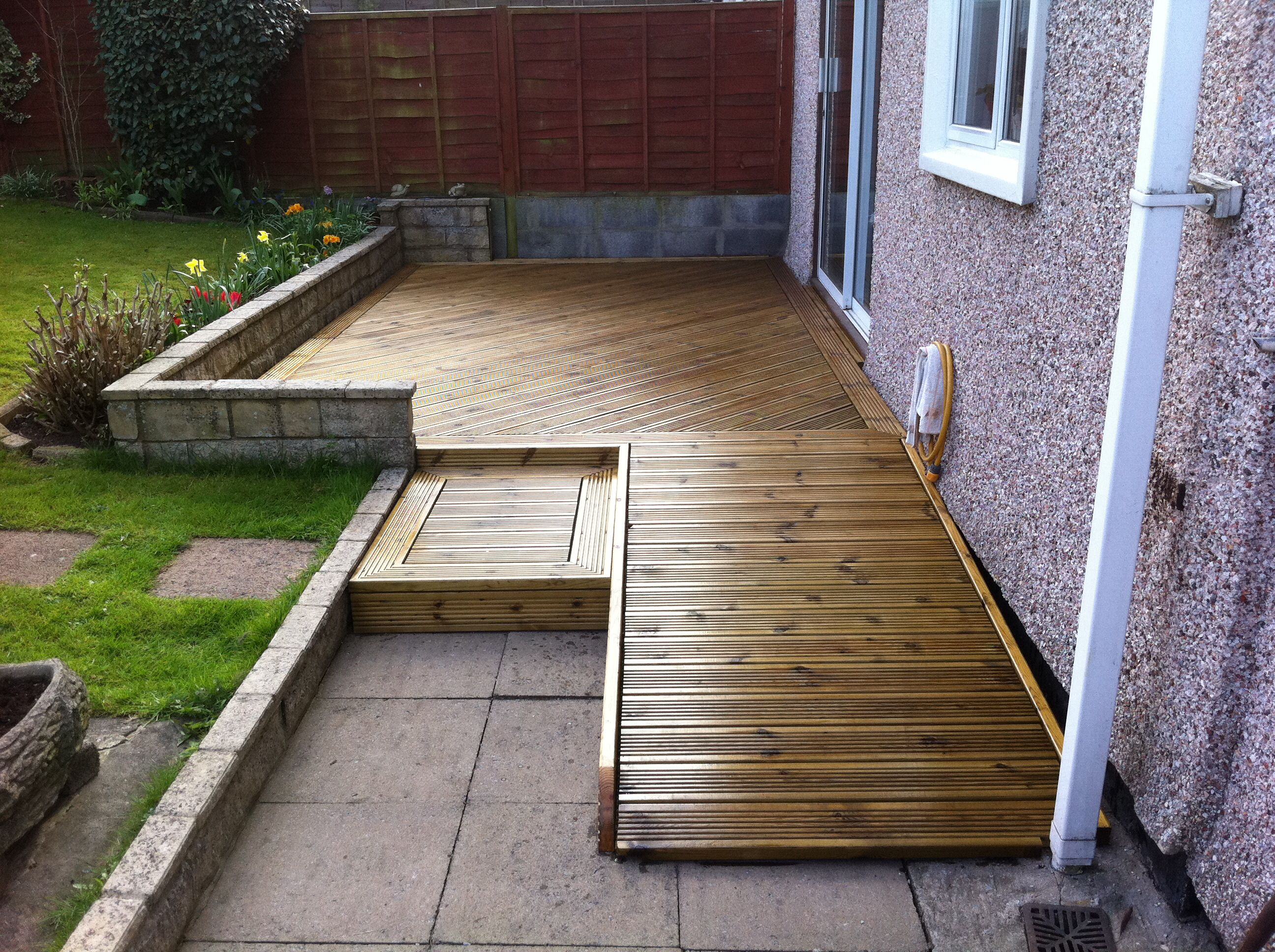 Decking with ramp backyard walkway mobile home porch