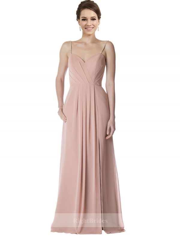 In Trends Chiffon Long Dusty Pink Sleeveless Bridesmaid Dresses ...