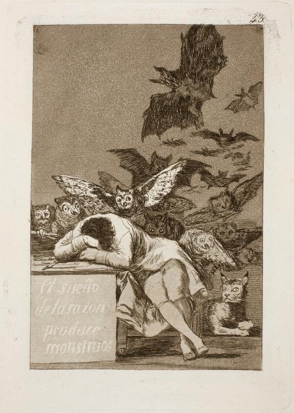 The Sleep of Reason Produces Monsters, Francisco Goya c. 1797 via @jubaloo_