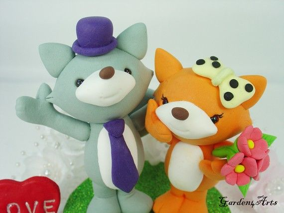 Happy Fox Love Wedding Cake Topper with Beautiful by Garden4Arts