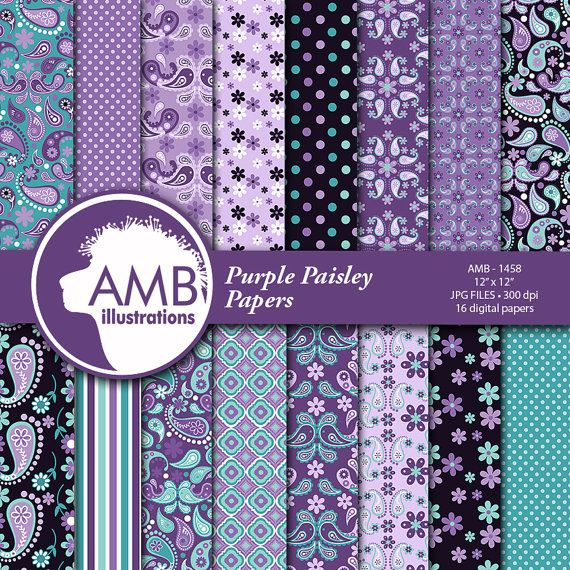Paisley Digital Papers Shabby Chic Floral Digital Papers Purple Paisley Floral Pattern Scrapbook Paper Comm Use Amb 1458 In 2020 Digital Paper Scrapbook Paper Shabby Chic Paper