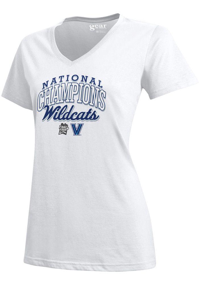 9cfb3e10cd20 Villanova Wildcats Womens White 2018 National Champions Mia Short Sleeve T- Shirt, White, 100% COTTON, Size S