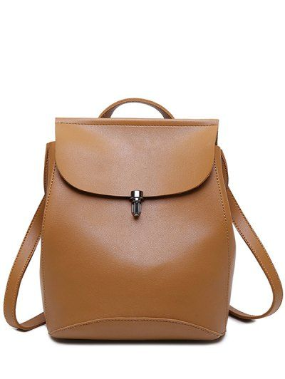 Flapped PU Leather Backpack. Leather Bag VintageLeather BagsLeather  BackpacksBrown BackpacksGirls School BagsCollege StudentsBeltsDesigner ... b59e017819139