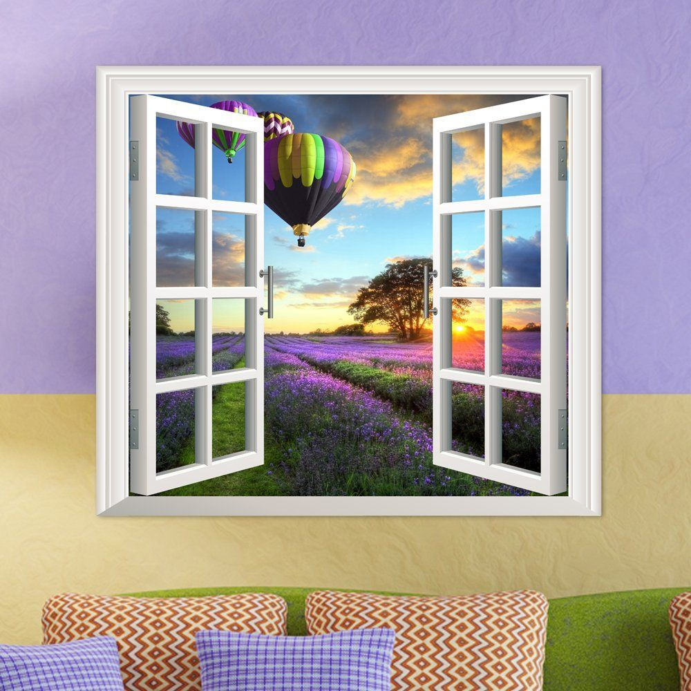 Window on wall decor  lavender pag d artificial window wall decals fire balloon room