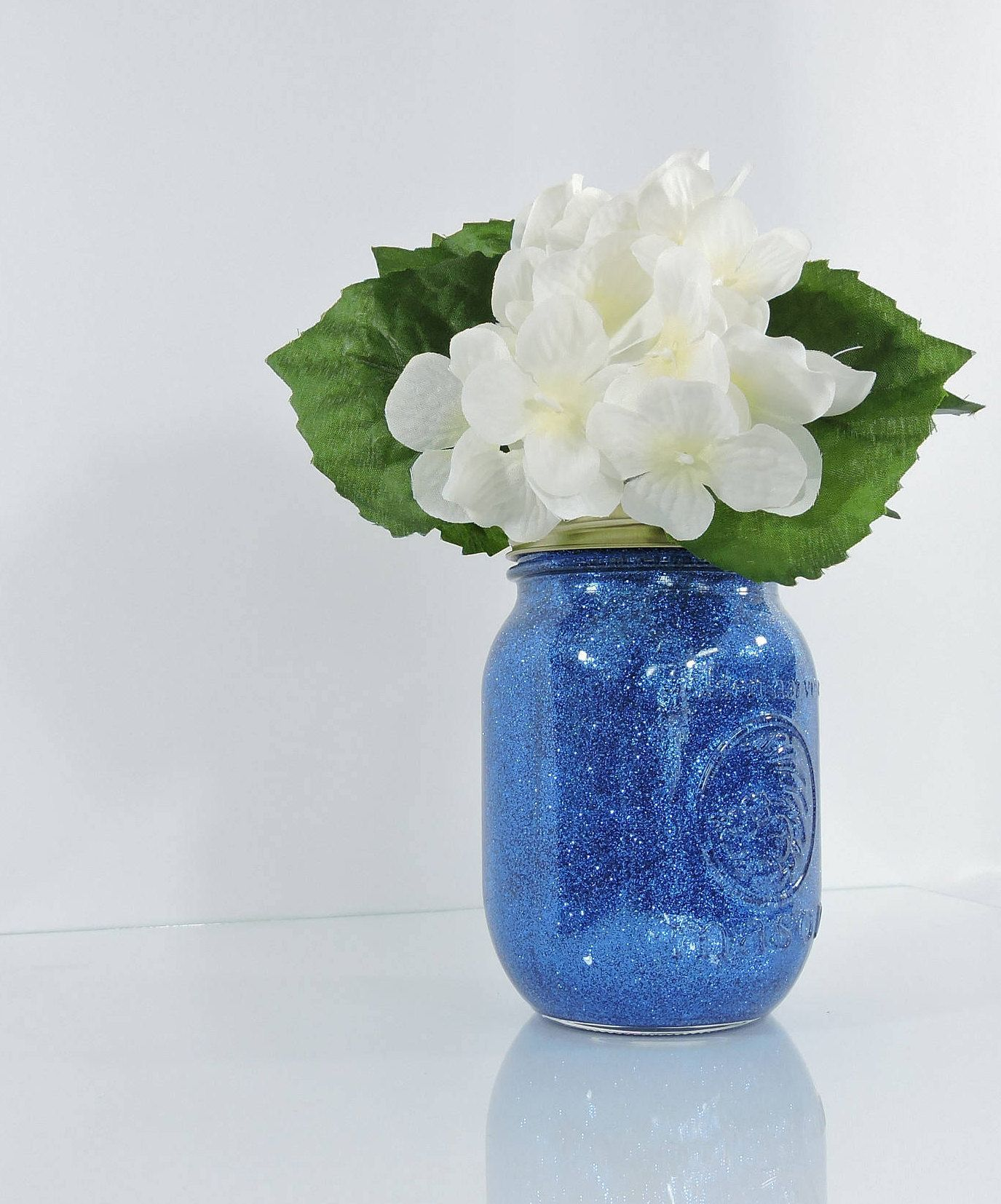 Blue Wedding Decor Glitter Mason Jar Centerpiece, Baby Shower Decor ...