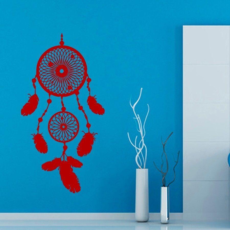 Wall decals indian dream catcher feathers vinyl sticker murals wall