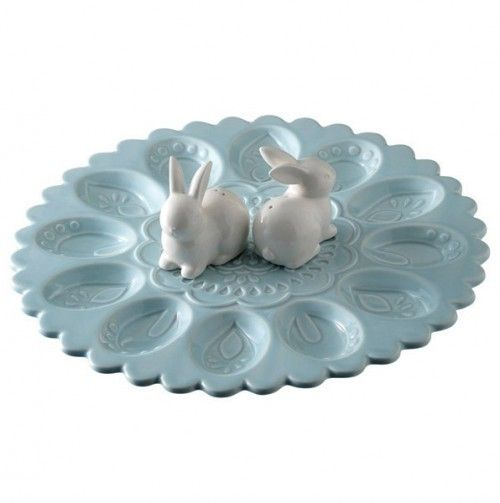 Egg Plate with Bunny Salt and Pepper Shakers