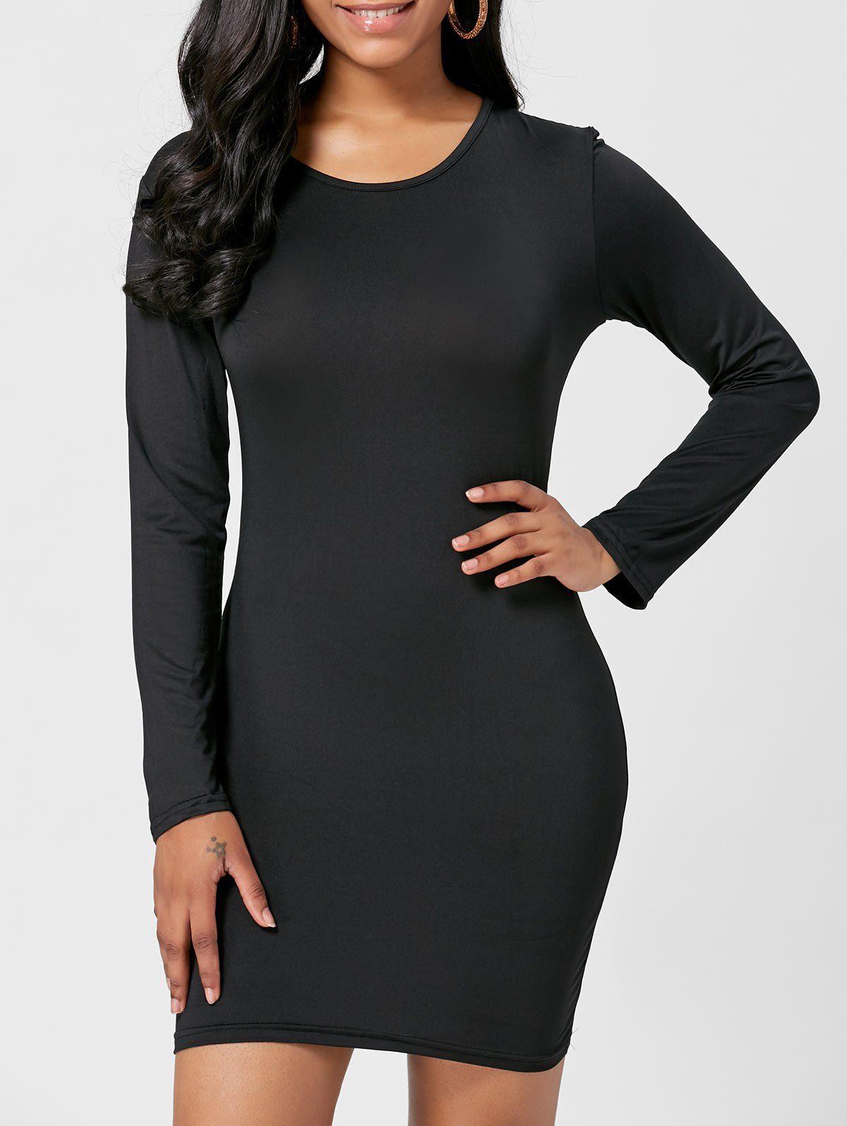 Long sleeve short bodycon dress black m shoproads